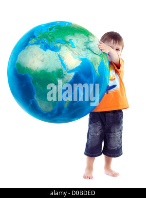 Cute little boy holding world globe, blue planet Earth in his hands, conceptual photo isolated on white background. - Stock Photo