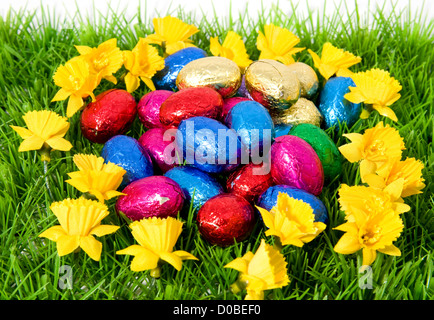 Colorful chocolate easter eggs on green grass - Stock Photo