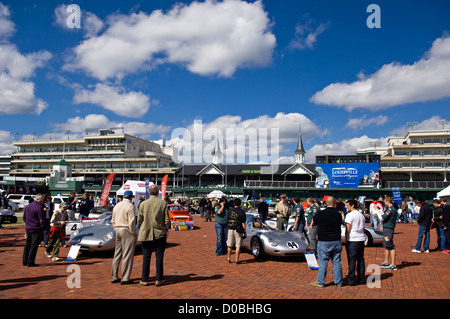 Crowd Checking Out the Porsche Display at the Concours d'Elegance at Churchill Downs in Louisville, Kentucky - Stock Photo