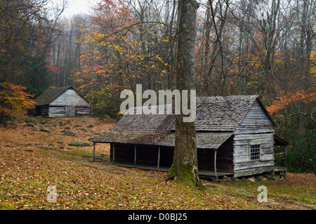 Noah Bud Ogle Place in the Great Smoky Mountains National Park in Sevier County, Tennessee - Stock Photo