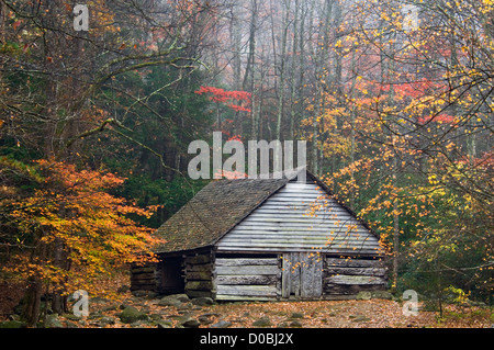 Rustic Log Barn on the Noah Bud Ogle Place in the Great Smoky Mountains National Park in Sevier County, Tennessee - Stock Photo