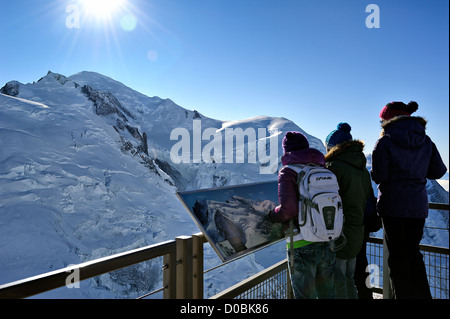 Looking at Mont Blanc from Aiguille du Midi, Chamonix, France. - Stock Photo