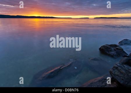 Sunset over Possession Sound, Mukilteo, Washington, USA - Stock Photo