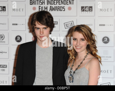 Freddie Highmore and Emma Roberts The British Independent Film Awards held at the Old Billingsgate MarketArrivals. - Stock Photo