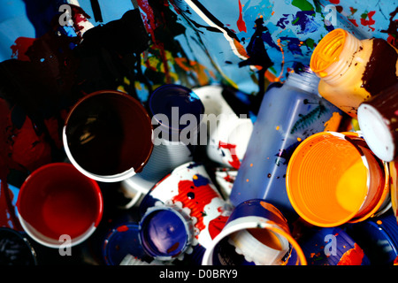 plastic glassess with color paint - Stock Photo