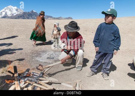 Barbecue in the Cordillera Real - Stock Photo