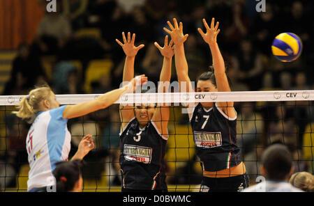Champions League, volleyball, 4th round, VK Agel Prostejov - Asystel Carnaghi Villa Cortese in Prostejov, Czech - Stock Photo