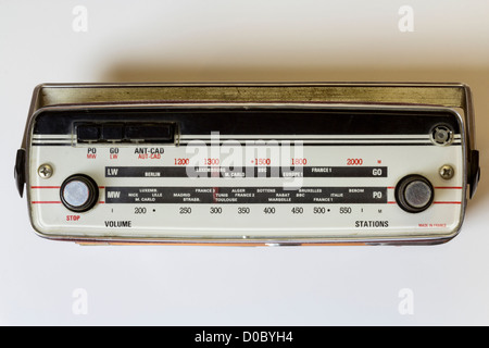 Top view of a french vintage portable radio - Stock Photo