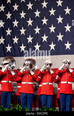 US Marine Drum & Bugle Corps buglers perform during the Semper Fidelis Society of Boston's 237th Marine Corps Birthday - Stock Photo