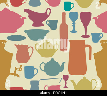 Dishes silhouettes on yellow background in retro style - Stock Photo
