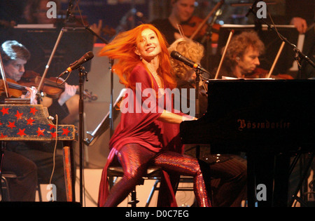 Tori Amos performs during her sold out concert with the Metrople Orchestra at the Heineken Music Hall. Amsterdam - Stock Photo