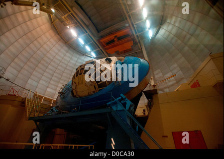 The Mayall 4-meter telescope is seen at Kitt Peak National Observatory - Stock Photo