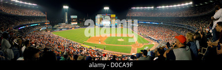 Panorama of Shea Stadium, Queens, New York. Former home of baseball's New York Mets. - Stock Photo