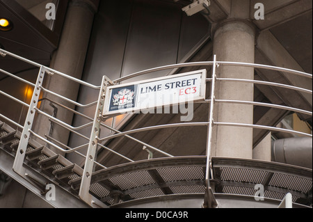 London City Lime Street EC3 road sign on iconic landmark detail The Lloyds Building external stairs staircase fire - Stock Photo