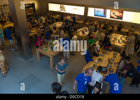Apple Store on Fifth Avenue inside, New York - Stock Photo