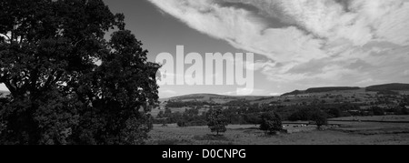 Black and White Panoramic Landscape view over Middleton in Teesdale, Teesdale, Durham County, England, Britain, - Stock Photo