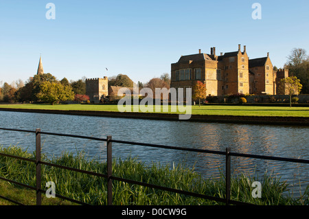 Broughton Castle in autumn, Oxfordshire, UK - Stock Photo