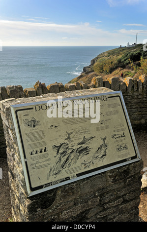 Dolphin watching information board at Durlston Head on the Isle of Purbeck along the Jurassic Coast in Dorset, South - Stock Photo