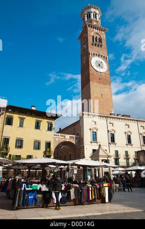 Piazza delle Erbe square with Torre dei Lamberti tower (1463) old town Verona city the Veneto region northern Italy - Stock Photo