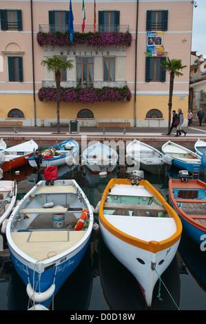 Boats in lakeside harbour Bardelino town Lago di Garda the Garda Lake the Veneto region Italy Europe - Stock Photo