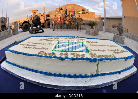 Color guard members of the 3rd Infantry Division appear following the 3rd Infantry Division's 95th birthday celebration - Stock Photo