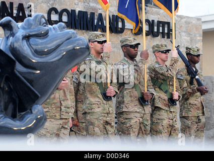 Color guard members of the 3rd Infantry Division appear during the 3rd Infantry Division's 95th birthday celebration - Stock Photo