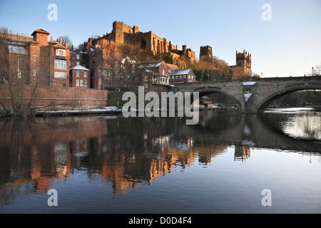 Durham Castle and Cathedral reflected in the river Wear, north east England UK - Stock Photo