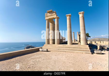 Ancient temple of Apollo at Lindos, Rhodes island, Greece - Stock Photo