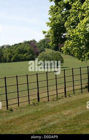 View of the Walkway to the Monument from Ragley Hall, Warwickshire, UK. - Stock Photo