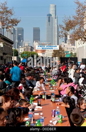thanksgiving dinner for homeless people stock photo
