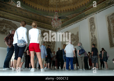 Tourists admire mosaics at the Bardo Museum, Tunis, Tunisia - Stock Photo
