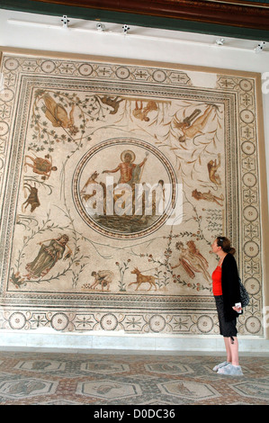 A woman admires a a mosaic at the Bardo Museum in Tunis, Tunisia - Stock Photo