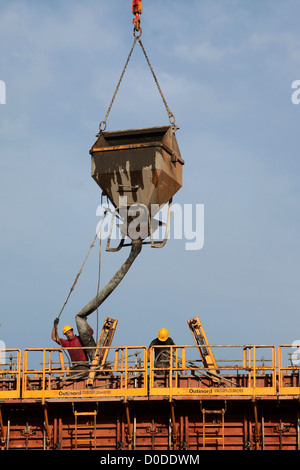 THE POURING OF A CONCRETE WALL ON A BUILDING SITE - Stock Photo