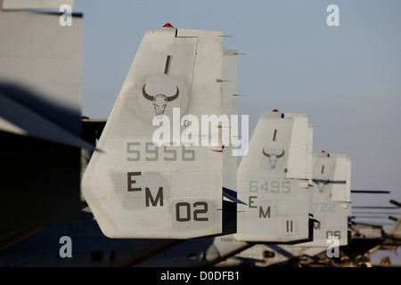 Tails of U.S. Marine Corps MV-22 Ospreys, at Camp Bastion, Helmand Province, southern Afghanistan. - Stock Photo