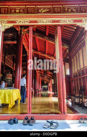 HUE, Vietnam - A side entrance of the To Mieu Temple at the Imperial City in Hue, Vietnam. A self-enclosed and fortified - Stock Photo