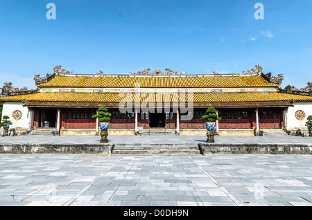 HUE, Vietnam - One of the few restored buildings at the Imperial City in Hue, Vietnam. A self-enclosed and fortified - Stock Photo