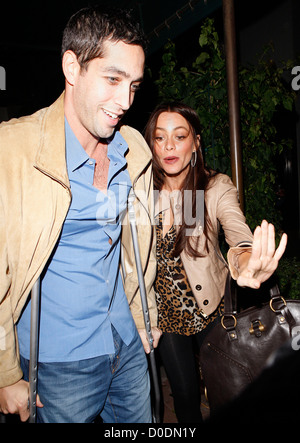 Sofia Vergara and her boyfriend Nick Loeb leaving Madeo restaurant after having dinner together Nick Loeb was seen - Stock Photo