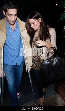 Sofia Vergara and her boyfriend Nick Loeb leaving Madeo restaurant after having dinner together. Nick Loeb was seen - Stock Photo