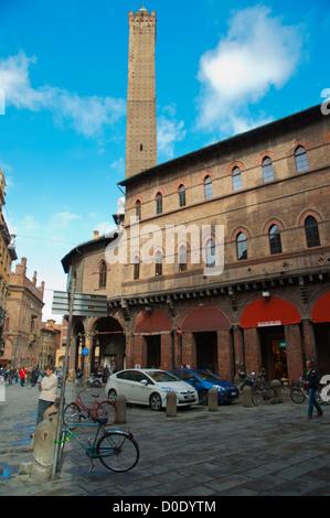Piazza della Mercanzia square with Torre degli Asinelli tower in background Quadrilatero central old town Bologna, - Stock Photo