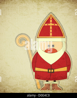 Christmas card with dutch santa claus sinterklaas and piet stock christmas card with dutch santa claus sinterklaas greeting card in vintage style illustration m4hsunfo
