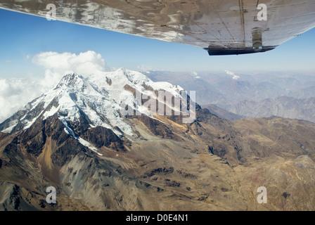 Aerial view of the mountain Illimani, Bolivia - Stock Photo