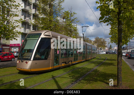 NEW TRAMWAY IN THE CITY OF ORLEANS LOIRET (45) FRANCE - Stock Photo