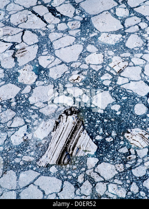 Ice Pattern Below John Hopkins Glacier - Stock Photo