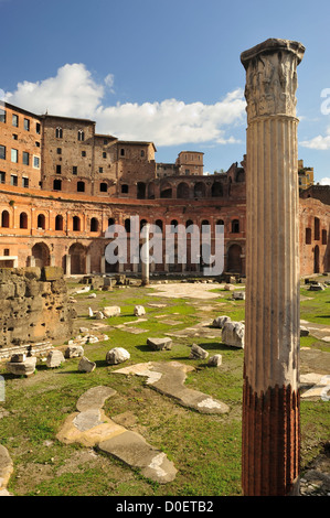 The Forum of Trajan, the largest of the imperial forums in Rome, Italy - Stock Photo