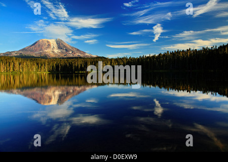 Mount Adams smaller Cascades volcano east Mount Saint Helens is reflected in nearby Takhlakh Lake Gifford Pinchot - Stock Photo