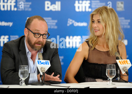 Paul Giamatti and Rosamund Pike The 35th Toronto International Film Festival - 'Barney's Version' - press conference - Stock Photo