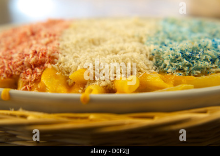 Red, white and blue macaroni and cheese. This is a Patriotic Dish special for the Fourth of July (July 4), American - Stock Photo