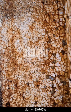 rusty metal with old white paint - Stock Photo