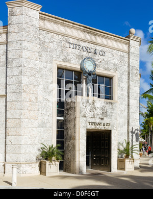 Tiffany & Co jewelry store on Worth Avenue, Palm Beach County, Treasure Coast, Florida, USA - Stock Photo