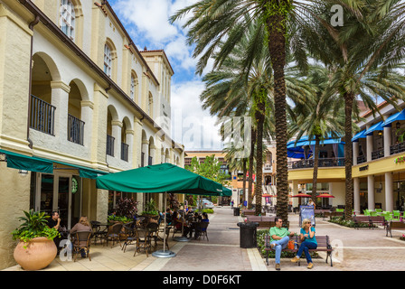 Bars and Restaurants alongside the Harriet Himmel Theater, Cityplace, South Rosemary Avenue, West Palm Beach, Florida, - Stock Photo